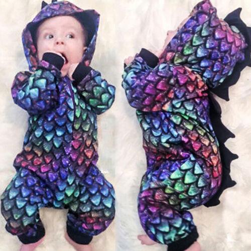 Newborn Baby Boy Girl Dinosaur Hooded Romper Bodysuit Jumpsuit Clothes Playsuit