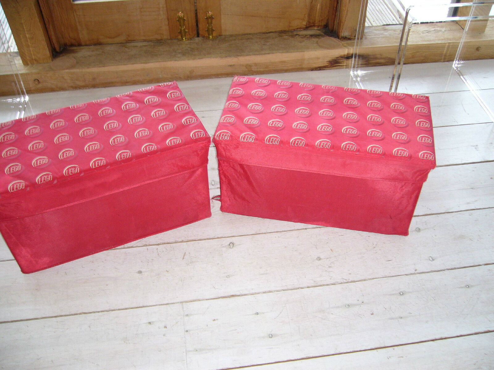PAIR OF VINTAGE LEGO ROT STORAGE BOXES WITH SEATS ON TOP, 24