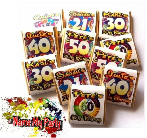24 x Personalised Mint Chocolate Birthday Favour 18th 21st 30th 40th 50th 60th