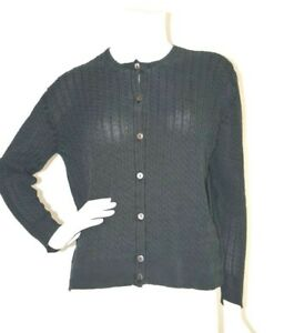 7f6e4f38c90a27 Image is loading BURBERRY-WOMENS-SILK-BLACK-LIGHTWEIGHT-CABLE-KNIT-BUTTON-