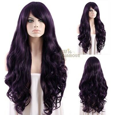Long 75cm Curly Dark Purple Fashion Hair Wig Heat Resistant