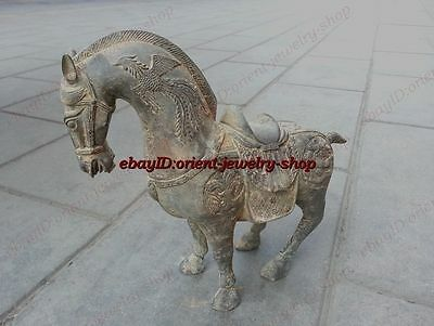 Collectible ancient carved Style dragon horse Pure Bronze Patina statue
