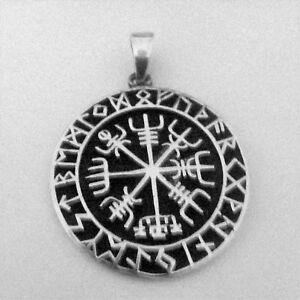 Colgante-de-plata-de-ley-Vegvisir-pieza-de-los-Vikingos-con-Runas-alrededor