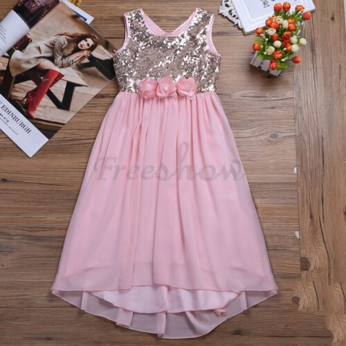 Flower Girl Princess Dress Kids Wedding Party Bridesmaid Prom Sequin Formal Gown