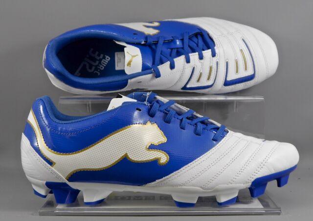 Puma (102478-01) Powercat 3.12 FG adults football boots - White/Blue