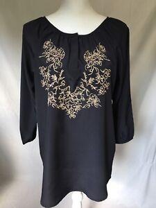 Womens-Shirt-Size-Large-Larry-Lavine-Blouse-Tunic-Black-Tan-Embroidery-Worn-1X