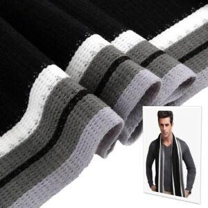 Mens-Classic-Winter-Knit-Scarf-Warm-Long-Striped-Shawl-Black-amp-White