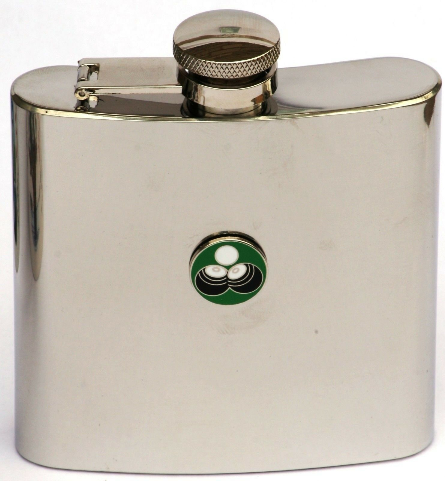 Bowls Green Enamel Emblem On Flask 6oz FREE ENGRAVING