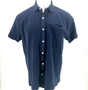 Orvis-Mens-Polo-Shirt-LARGE-L-Blue-Short-Sleeve-100-Cotton-Collared-Button-Down