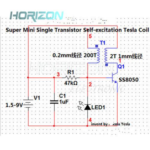 World/'s Smallest 5V//1W Tesla Coil Kit For Wireless Transmission Experiment