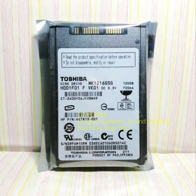 "Toshiba MK1216GSG 120GB,Internal,5400RPM,1.8"" (HDD1F01) HDD"