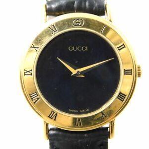 GUCCI 3000.2.L GOLD BLACK WOMEN'S VINTAGE SWISS MADE WATCH QUARTZ