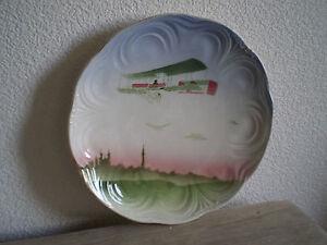 ASSIETTE-AVION-BIPLAN-1900-CERAMIQUE-BADONVILLER-ART-NOUVEAU-AVIATION-PIONIER