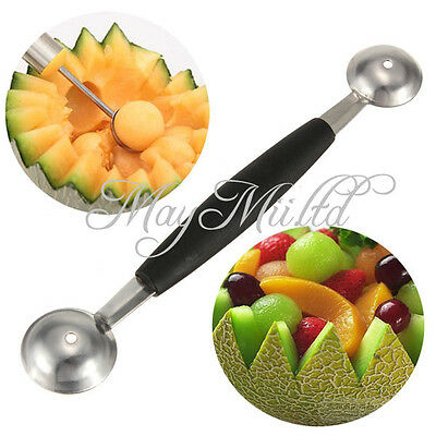 Stalinless Steel Cook Dual Double Melon baller ice cream scoop fruit Spoon BH
