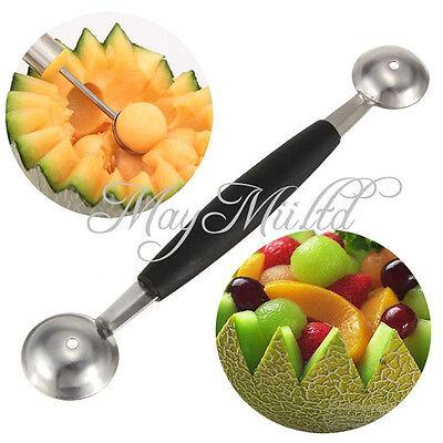 Stalinless Steel Cook Dual Double Melon baller ice cream scoop fruit Spoon MI