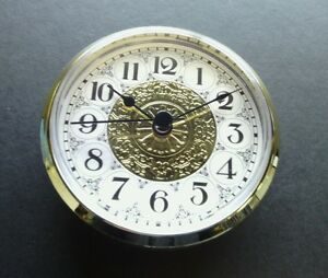 """CLOCK FIT UP FANCY FACE white & gold, Clock insert, 3 1/2"""" dia, (_52) NEW, #333"""