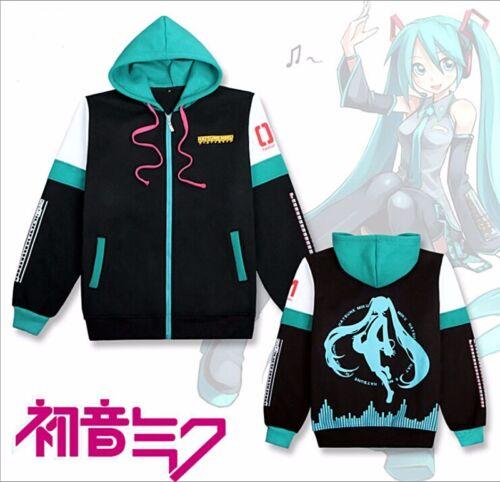Anime Hatsune Miku Costume Unisex Cosplay Zipped Jacket Hoodie Sweatshirt Coat
