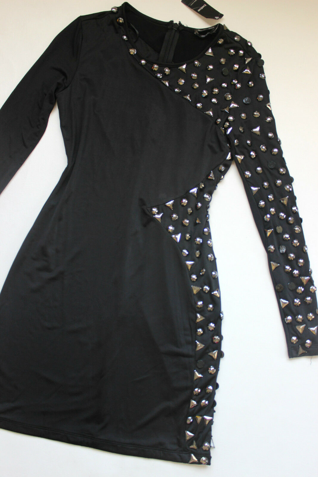NWT bebe schwarz long sleeve stud embellished party top bodycon dress S small 4