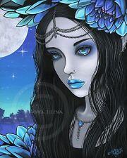 Lotus Fairy Art Gothic Moon Flower Nalin Signed Myka Jelina Print