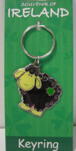 IRELAND SOUVENIR METAL BLACK SHEEP KEYRING WITH SHAMROCK