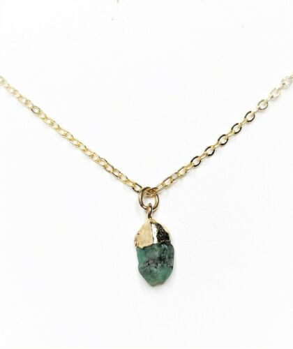 Raw Emerald Pendant Gold Filled Natural Stone Womens Birthday Gift Boxed