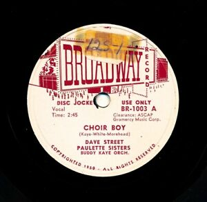 DAVE-STREET-and-the-PAULETTE-SISTERS-on-1951-Broadway-1003-Promo-Choir-Boy