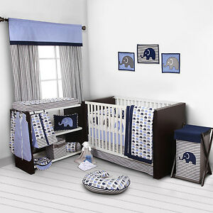 baby bedroom set nursery bedding elephants blue grey 10 pc crib infant