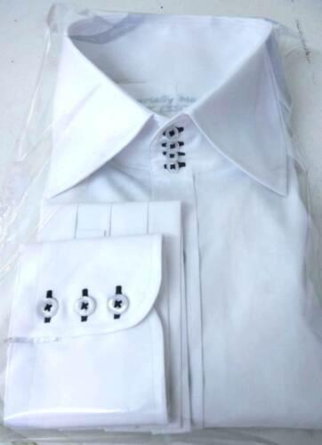 Camicie da uomo collo alto diffusione Colletto 4 Bottoni Colletto Bianco Cotone per Gents