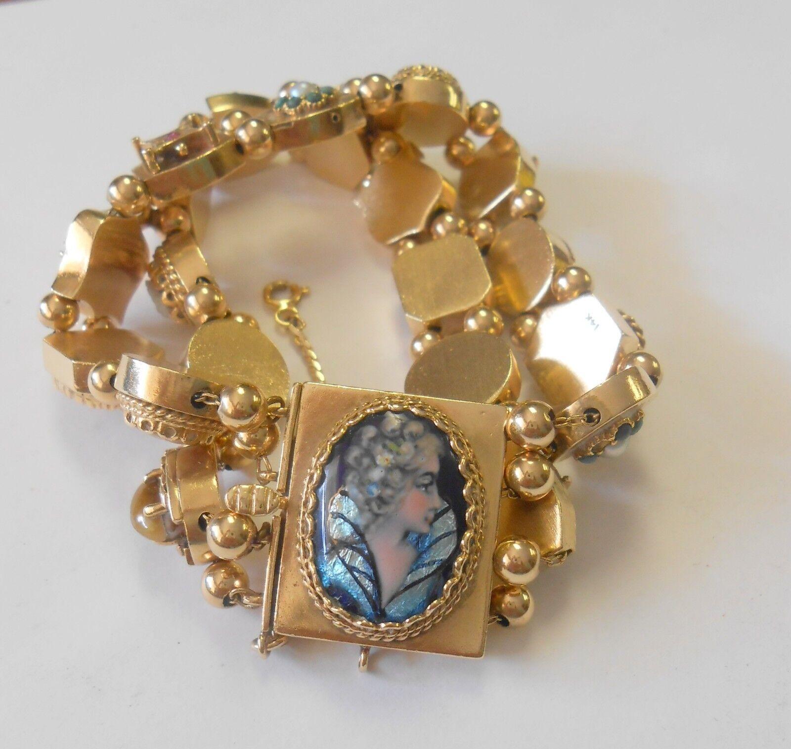 Victorian Double Row Slide Bracelet  Amazing Enamel, Gemstone, Cameo & Dragons