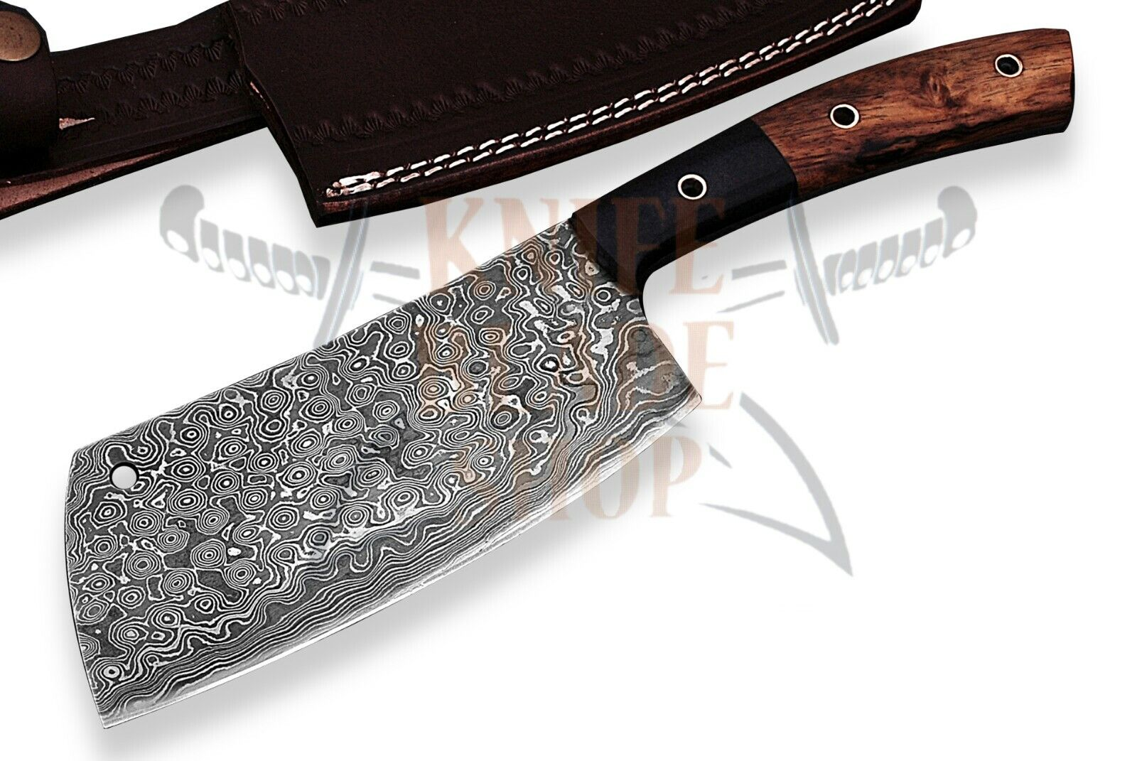 Damascus steel BLADE PROFESSIONAL CLEAVER CHEF'S KNIFE ROSE bois HANDLE