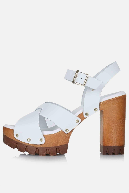 TOPSHOP LYRICAL WOODEN PLATFORM 7.5 WEISS Leder Sandale Block Heels 70s Schuhes