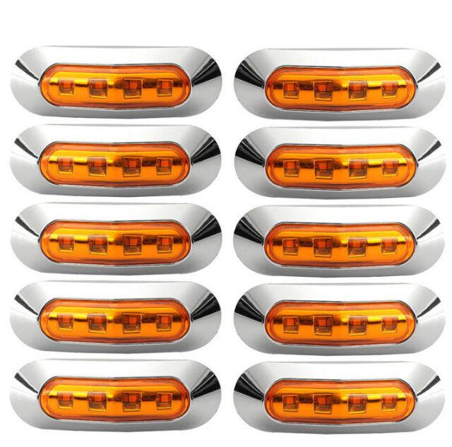 10x 12v/24v Amber 4 LED Side Clearance Marker Light Car Truck Tail Trailer Lamp