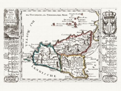 Alte Sizilien Italien Landkarte Bodenehr 1716 Papier Leinwand
