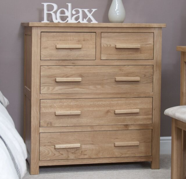 Nero Solid Oak Bedroom Furniture 2 Over 3 Chest Of Drawers With Felt Pads