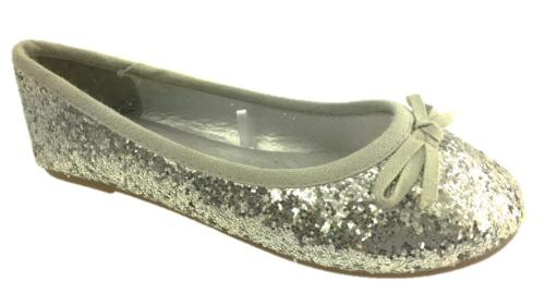 GIRLS SLIP ON GLITTER BALLERINA DOLLY PUMPS SHOES BOW DETAIL SILVER SZ 10-2 NEW