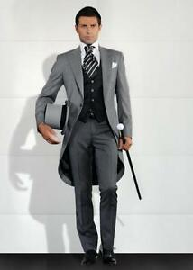 e4c53a15a Grey 3 Pieces Slim Fit Groom Tailcoat Tuxedos Best Men Formal ...