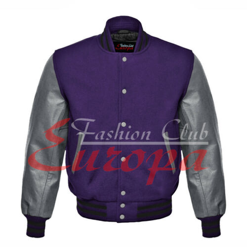 Royal blue Varsity Letterman  Wool Body And Gray Real Leather Sleeves Jacket