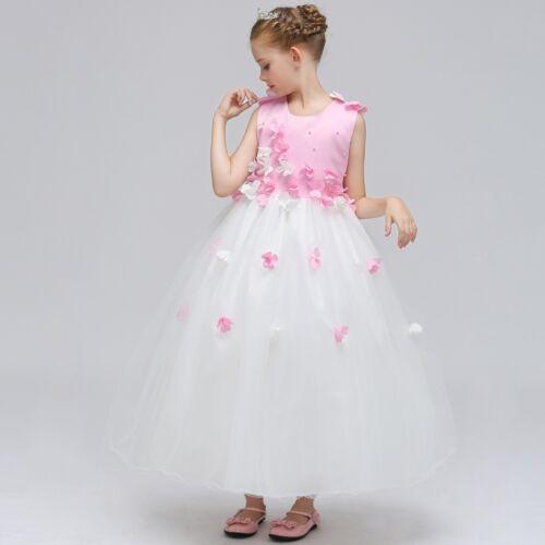 2018 Beautiful Girls Flower Dress Kids Pink Wedding Princess Bridesmaid Gown K25