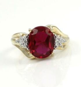 Solid-10K-Yellow-Gold-3-85CTW-Oval-Red-Ruby-Diamond-Size-6-75