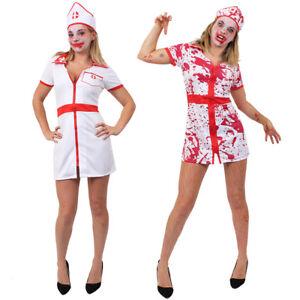 Womens Bloody Nurse Zombie Halloween Fancy Dress Costume Ladies Horror Outfit