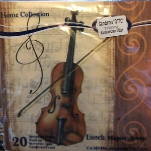 20 Paper Napkins Decoupage Craft Collection Violin Music