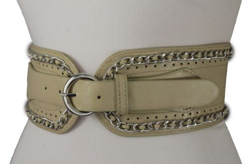 Women Silver Metal Chain Fashion Belt Hip High Waist Nude Beige Faux Leather S M