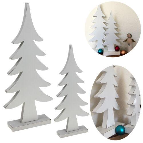 2x XL Design Deko Holz Weihnachtsbaum Tannenbaum Set Weiß Holz-Baum X-mas Objekt