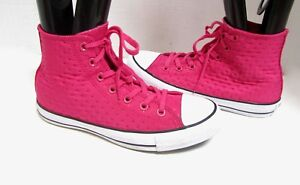 Converse-All-Star-Chuck-Taylor-Quilted-PINK-Hi-Top-Boots-Sneakers-Shoes-RARE-8