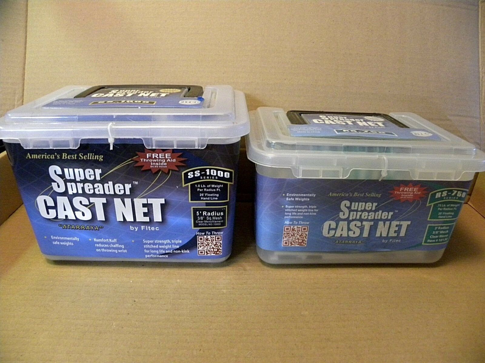 (2) CAST NETS -- FITEC SUPER SPREADER -- SS -1000 & RS-750 -- CLEAR MONO -- NEW