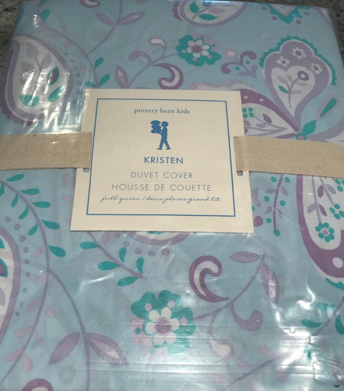 Pottery Barn Kids Kristen bleu Paisley Butterfly Full Queen F Q Duvet Cover NEW