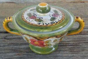 Deruta-Italian-Art-pottery-Sugar-Bowl-With-Lid-Hand-Painted-Majolica-Tivoli