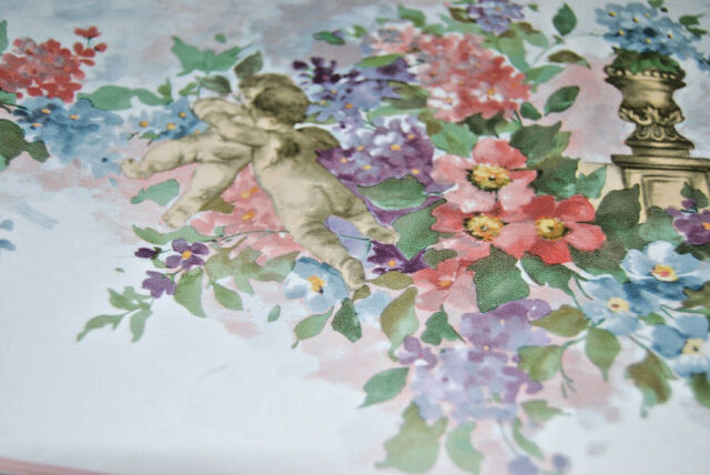 Pink purple blue flowers floral design w cherub angel wallpaper pink purple blue flowers floral design w cherub angel wallpaper border w1226 mightylinksfo