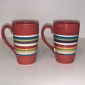 Tabletops-Gallery-Water-Color-Red-Coffee-Tea-Mugs-2-Hand-Painted-Stripes-Cups