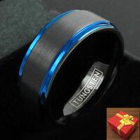 Engraved Black Tungsten Ring Blue Edges Wedding Band Men's & Women's